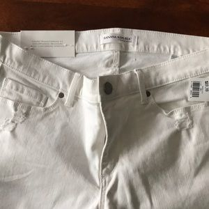 NWT Brand New BR White Distressed Jeans